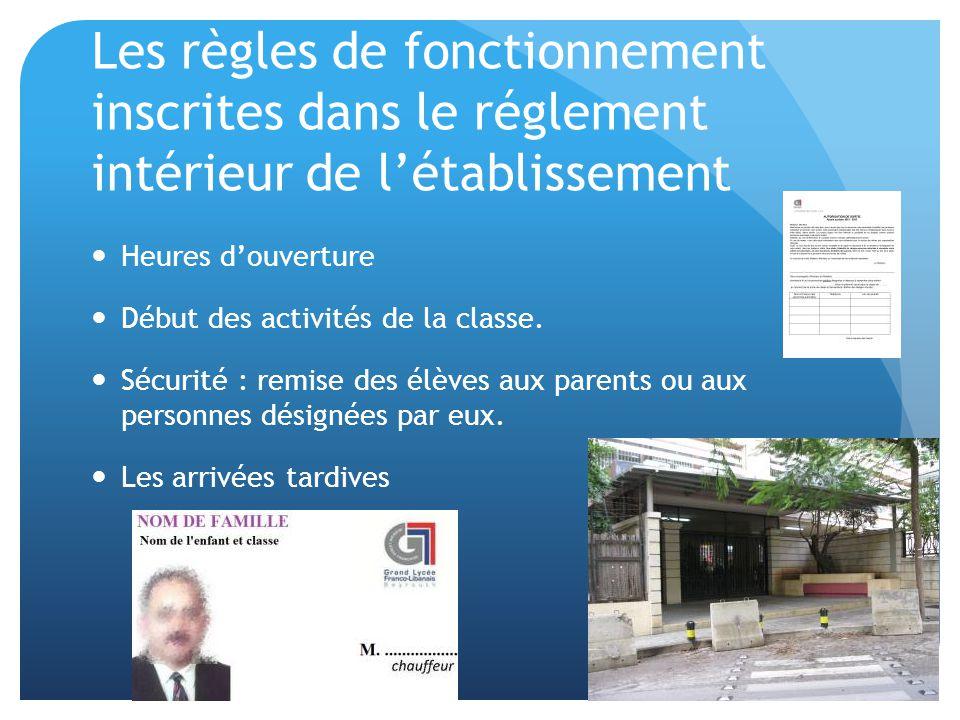 Les règles de fonctionnement inscrites dans le réglement intérieur de l'établissement