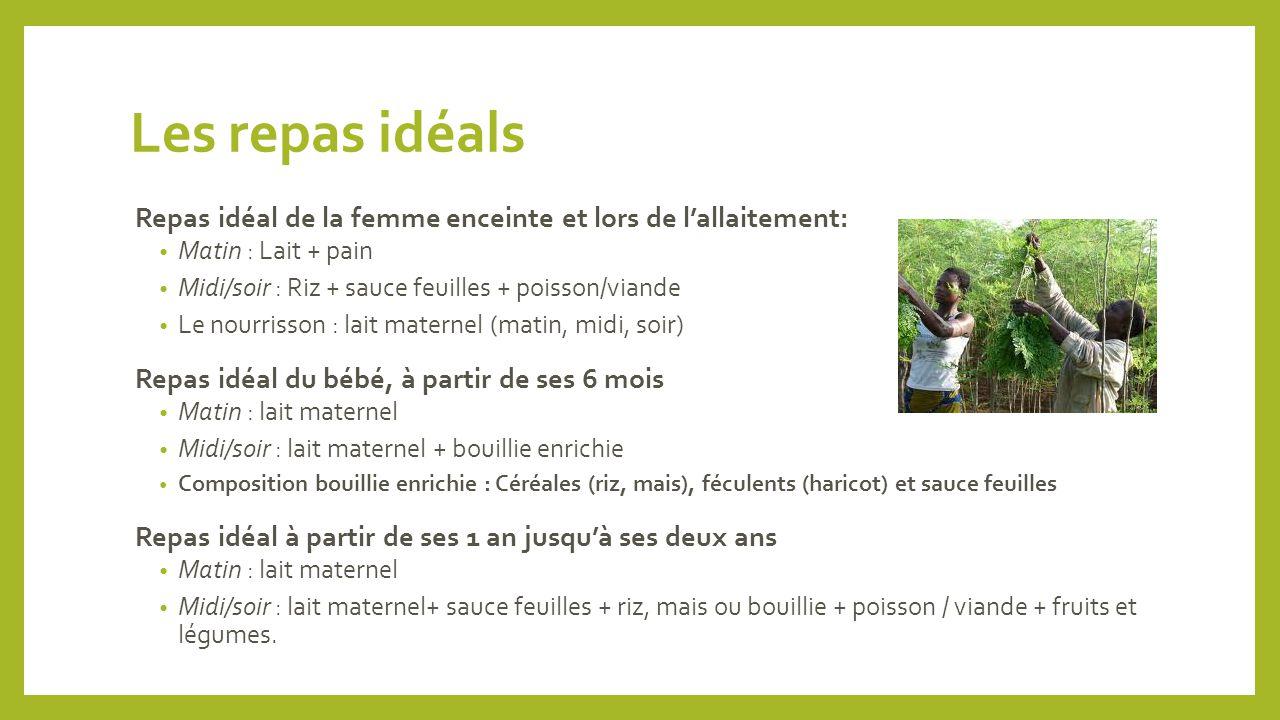 Les repas idéals Repas idéal de la femme enceinte et lors de l'allaitement: Matin : Lait + pain. Midi/soir : Riz + sauce feuilles + poisson/viande.