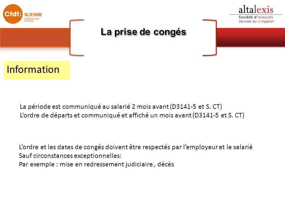 Information La prise de congés