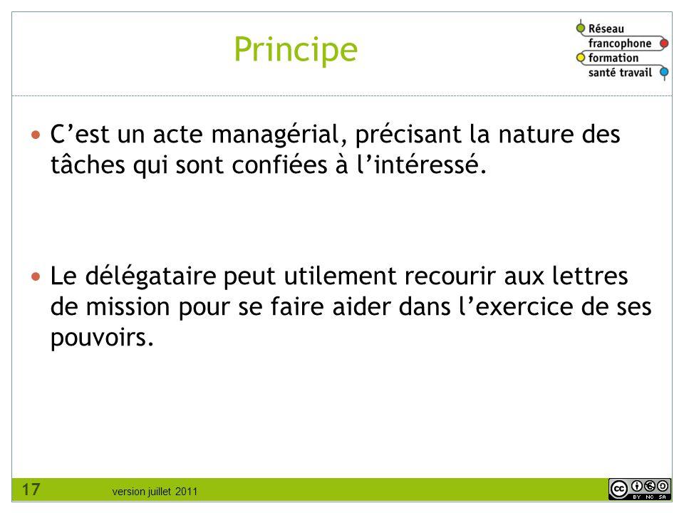 Principe C'est un acte managérial, précisant la nature des tâches qui sont confiées à l'intéressé.
