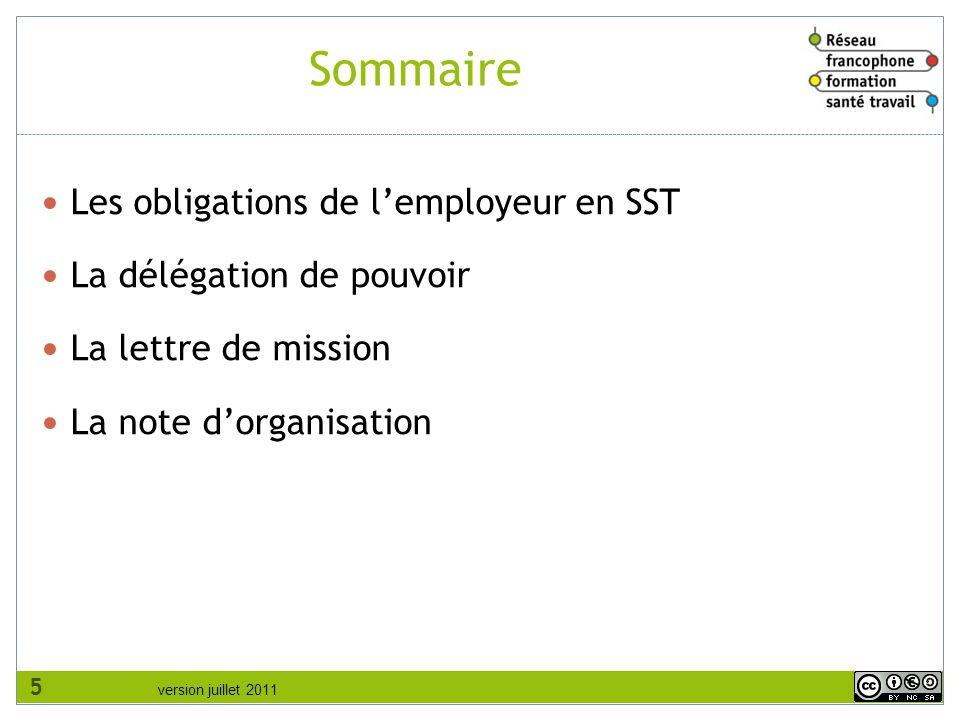 Sommaire Les obligations de l'employeur en SST