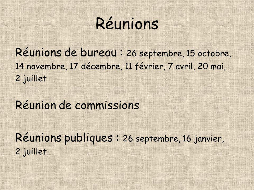 Réunions Réunions de bureau : 26 septembre, 15 octobre,