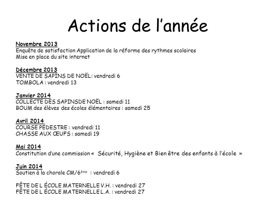 Actions de l'année Novembre 2013