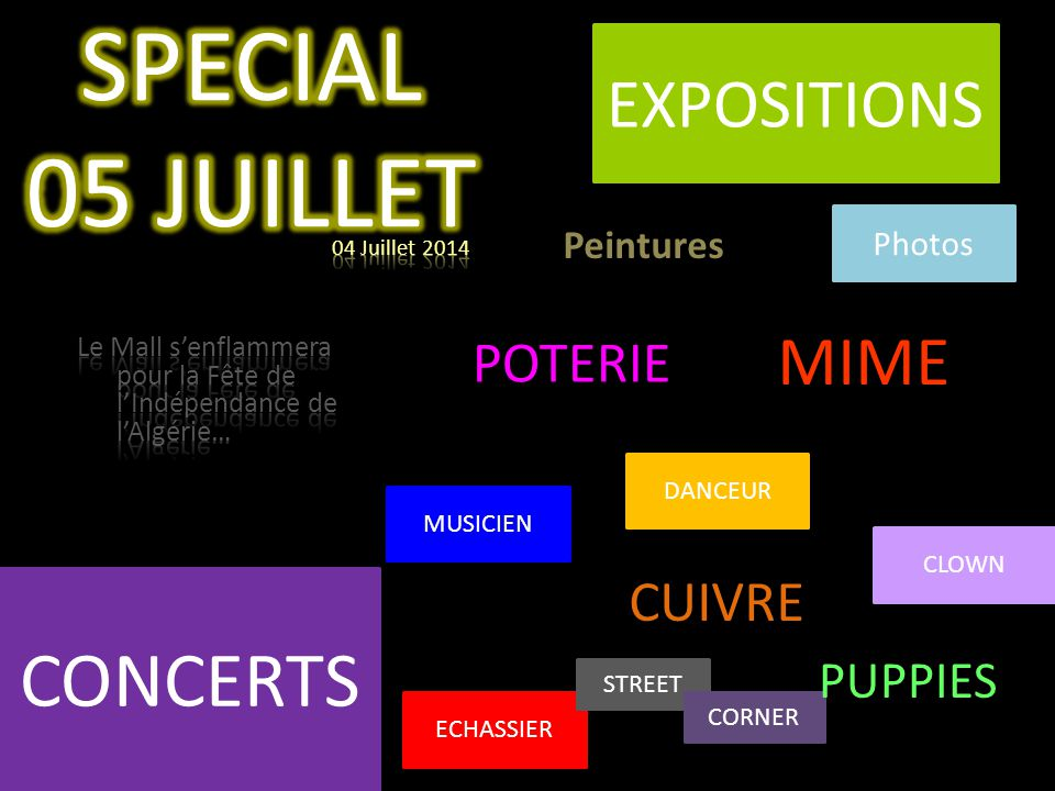 SPECIAL 05 JUILLET CONCERTS EXPOSITIONS MIME POTERIE CUIVRE PUPPIES