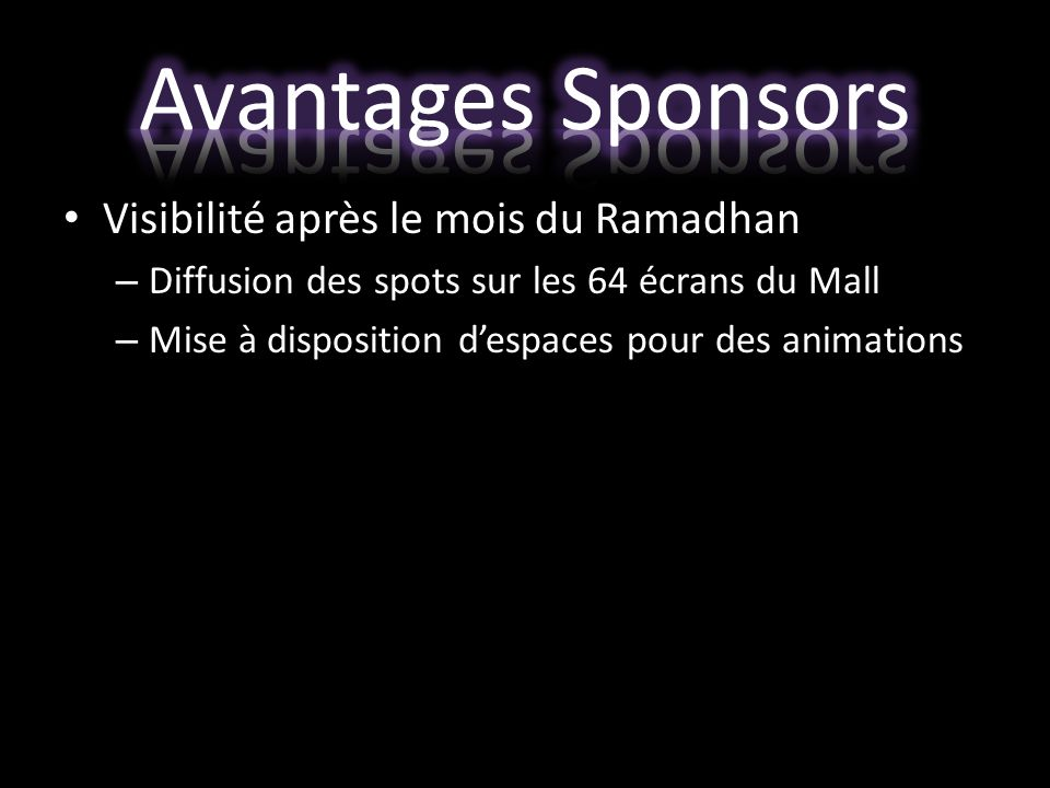 Avantages Sponsors Visibilité après le mois du Ramadhan