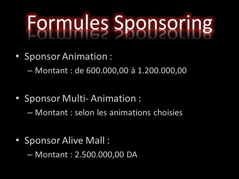 Formules Sponsoring Sponsor Animation : Sponsor Multi- Animation :