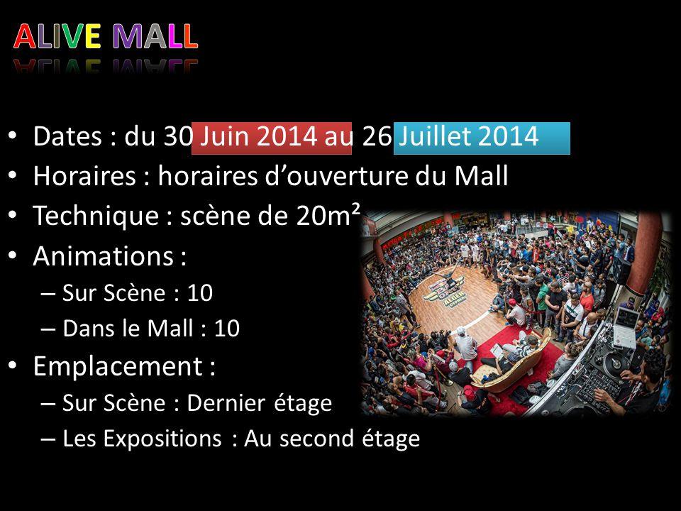 ALIVE MALL Dates : du 30 Juin 2014 au 26 Juillet 2014