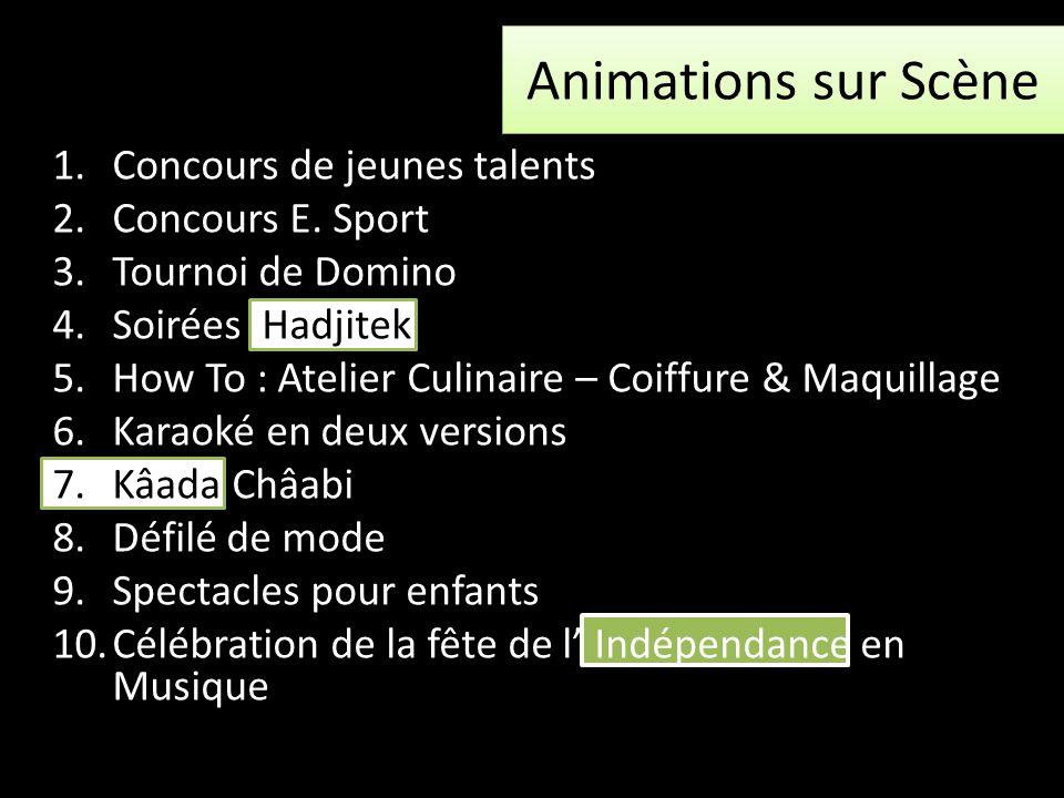Animations sur Scène Concours de jeunes talents Concours E. Sport