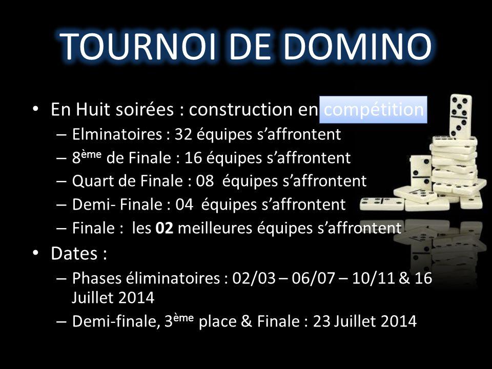 TOURNOI DE DOMINO En Huit soirées : construction en compétition