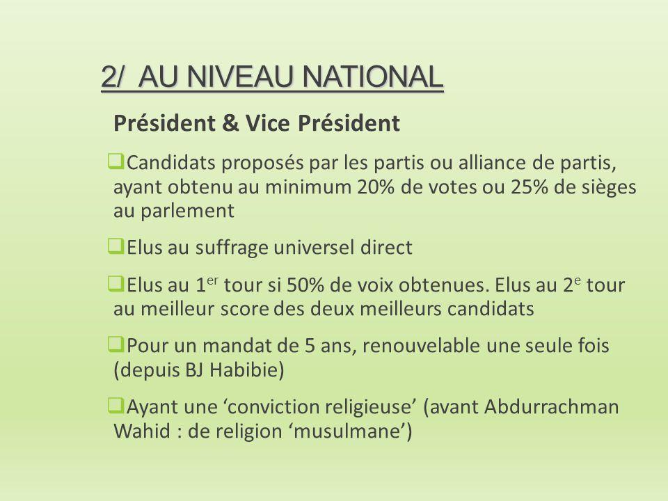 2/ AU NIVEAU NATIONAL Président & Vice Président
