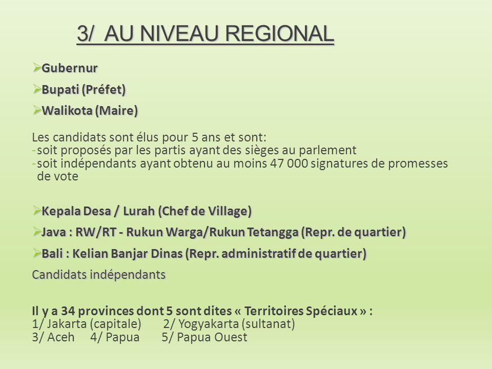 3/ AU NIVEAU REGIONAL Gubernur Bupati (Préfet) Walikota (Maire)