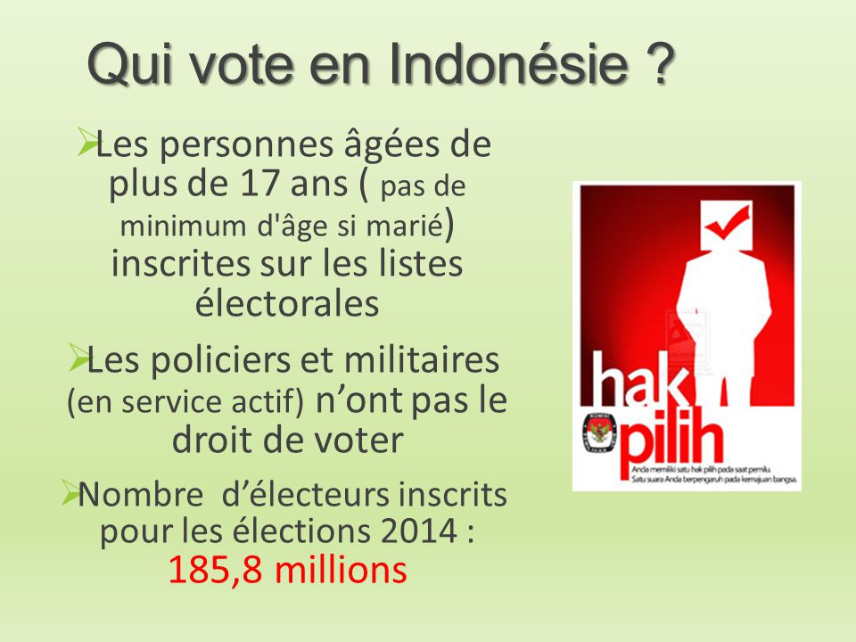 Nombre d'électeurs inscrits pour les élections 2014 : 185,8 millions