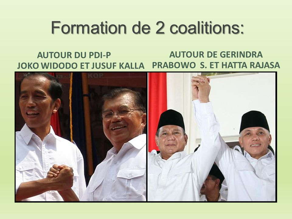 Formation de 2 coalitions: