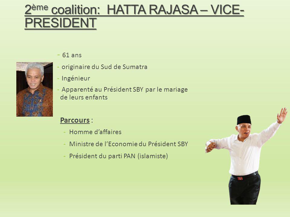 2ème coalition: HATTA RAJASA – VICE-PRESIDENT