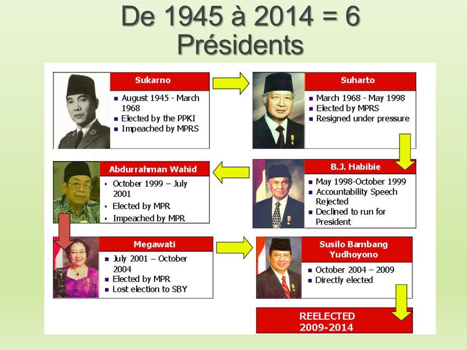 De 1945 à 2014 = 6 Présidents
