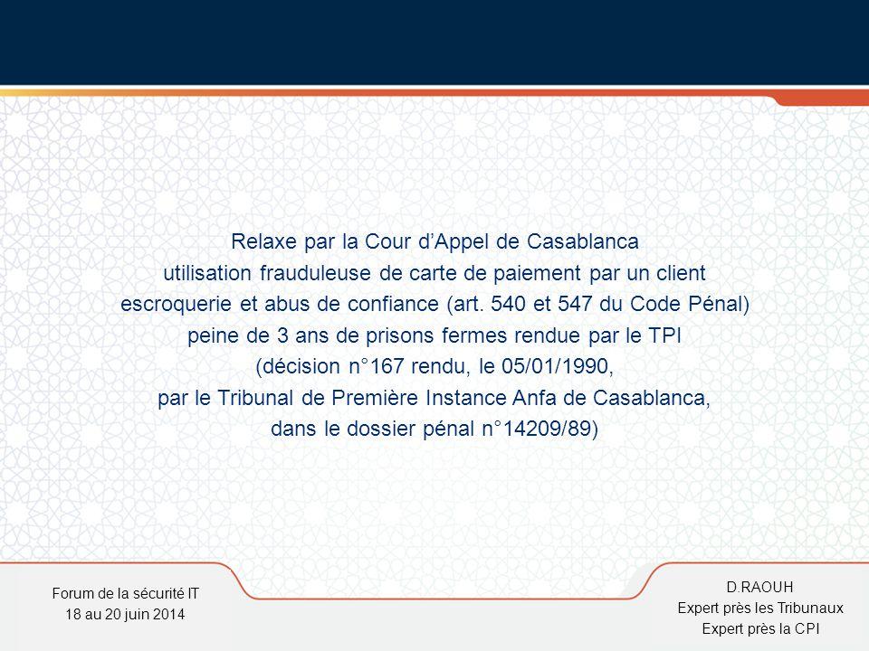 Relaxe par la Cour d'Appel de Casablanca