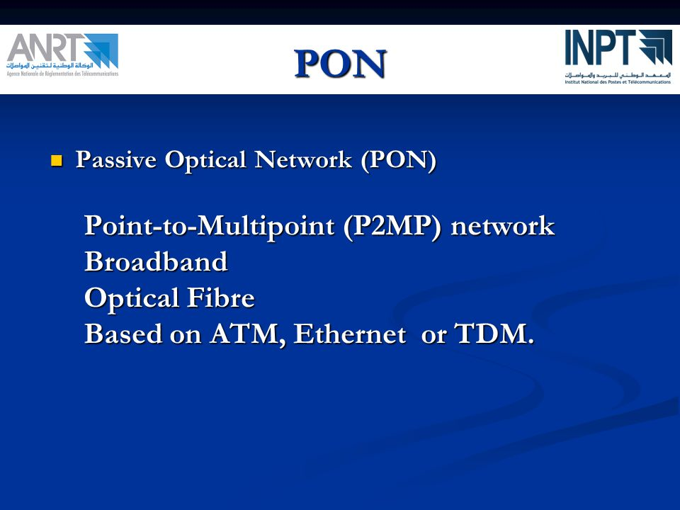 PON Point-to-Multipoint (P2MP) network Broadband Optical Fibre