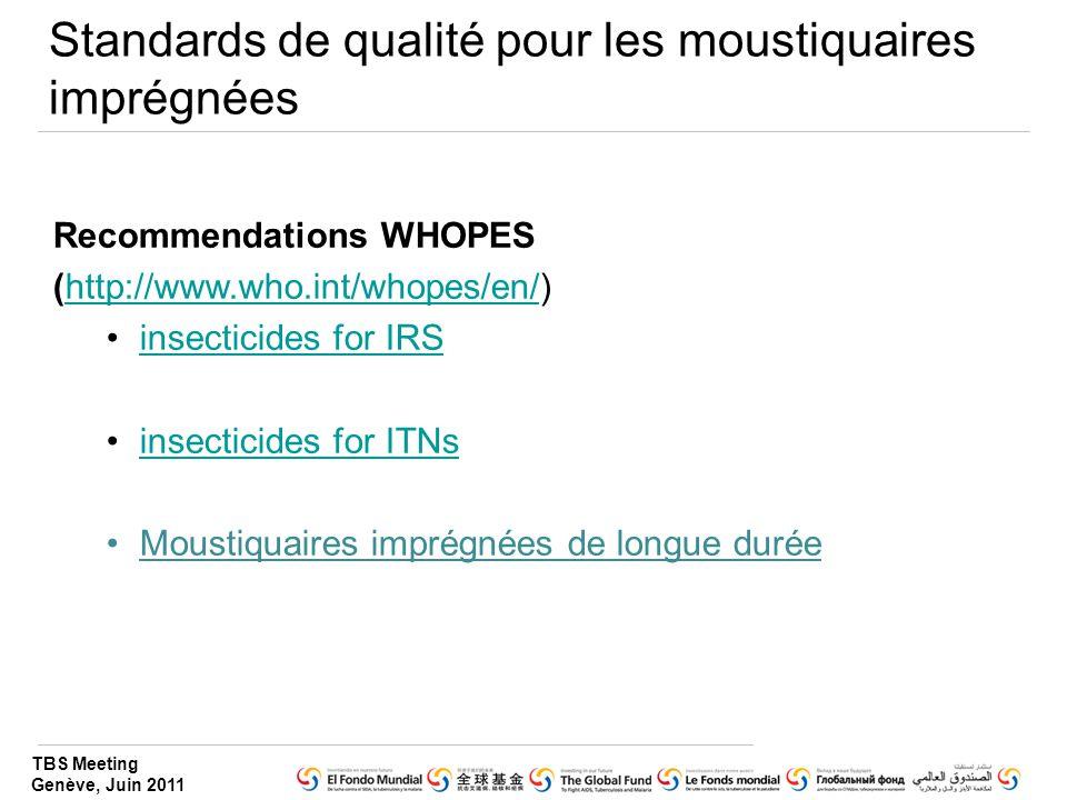 Standards de qualité pour les moustiquaires imprégnées