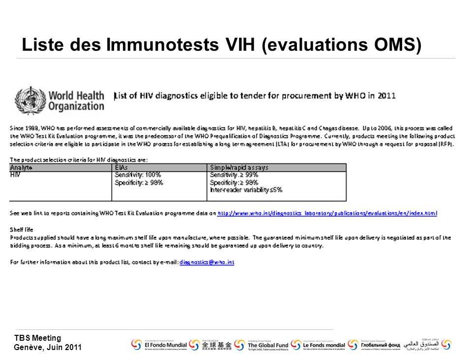 Liste des Immunotests VIH (evaluations OMS)