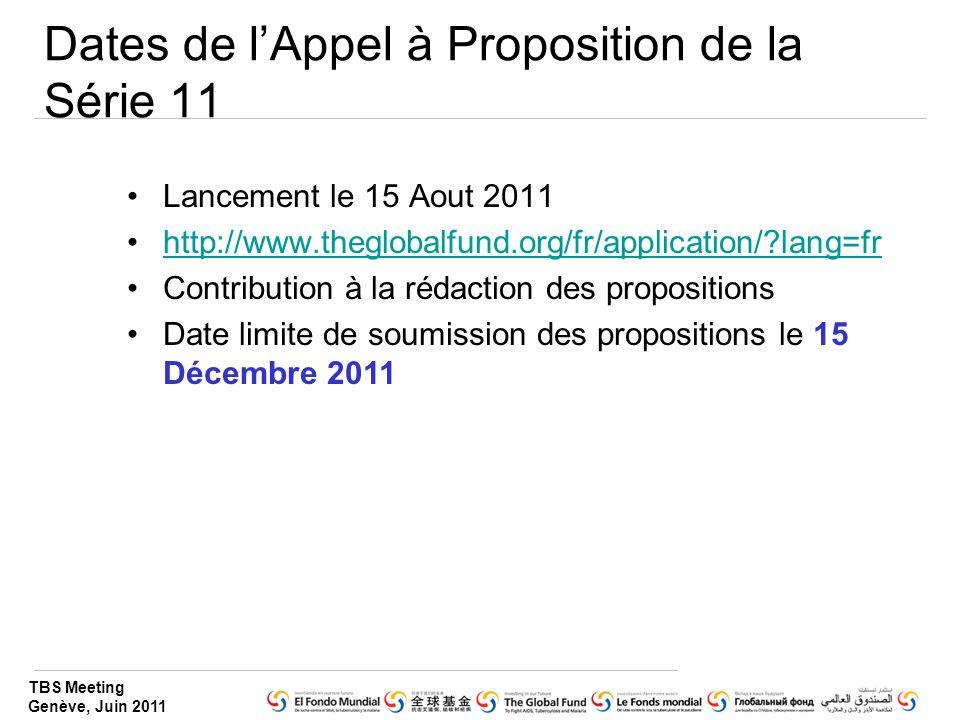 Dates de l'Appel à Proposition de la Série 11