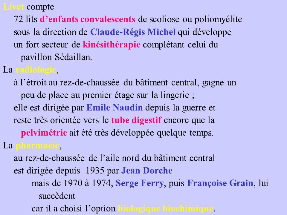 Livet compte 72 lits d'enfants convalescents de scoliose ou poliomyélite. sous la direction de Claude-Régis Michel qui développe.