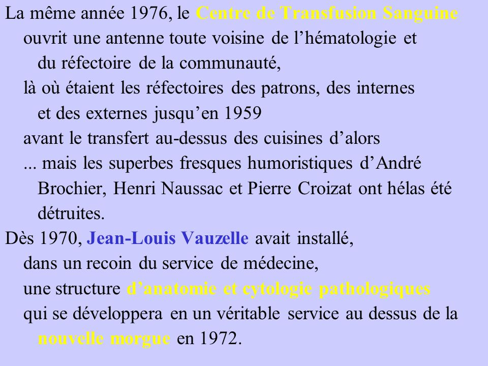 La même année 1976, le Centre de Transfusion Sanguine
