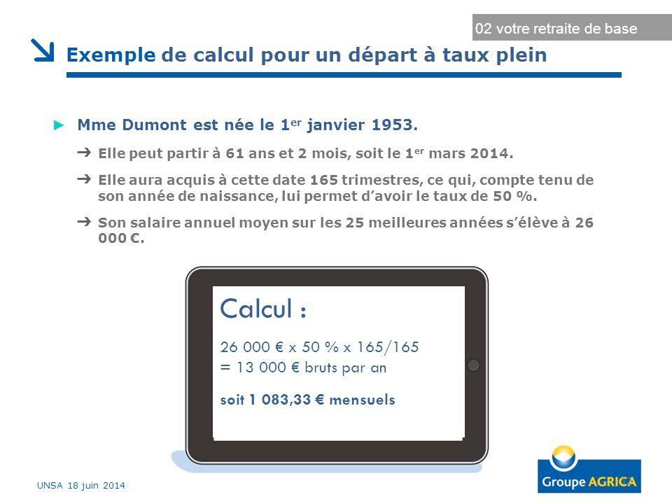 Calcul : Exemple de calcul pour un départ à taux plein