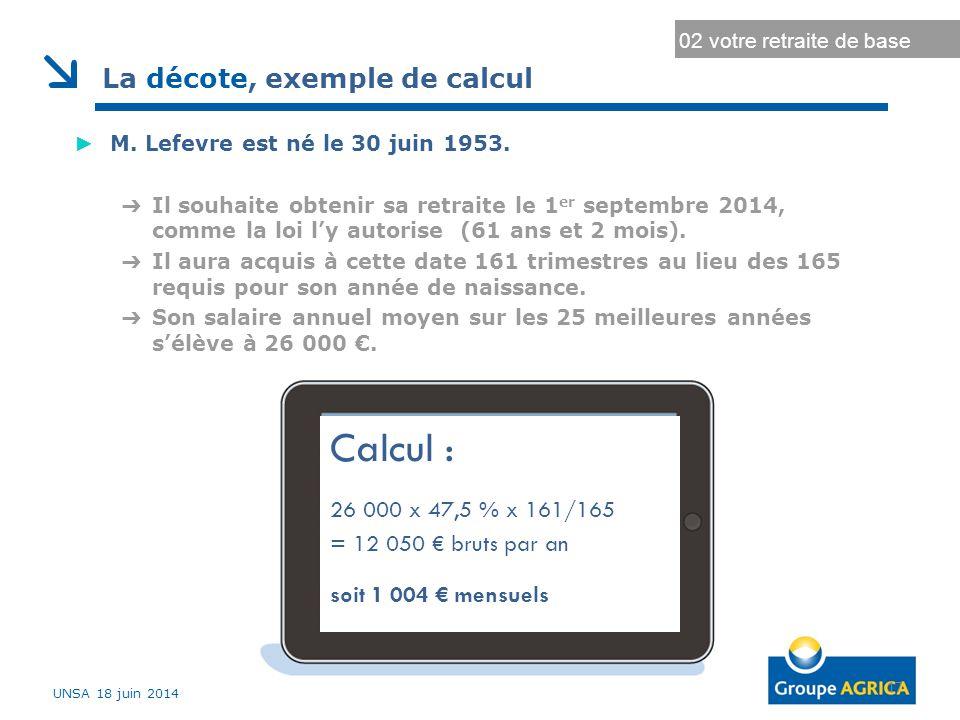 Calcul : La décote, exemple de calcul 26 000 x 47,5 % x 161/165