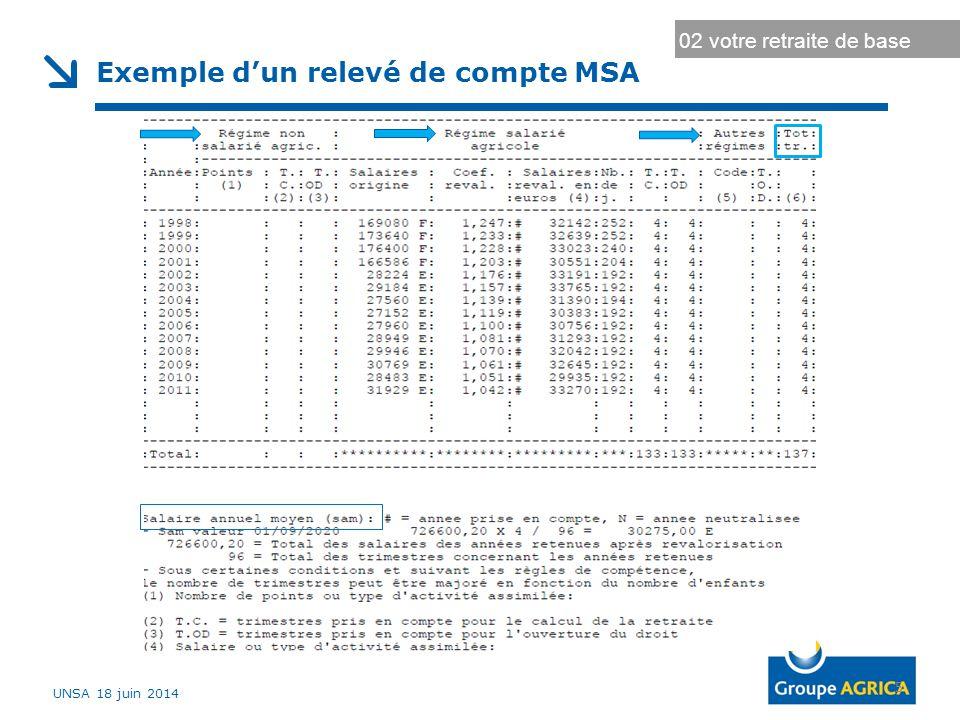 Exemple d'un relevé de compte MSA