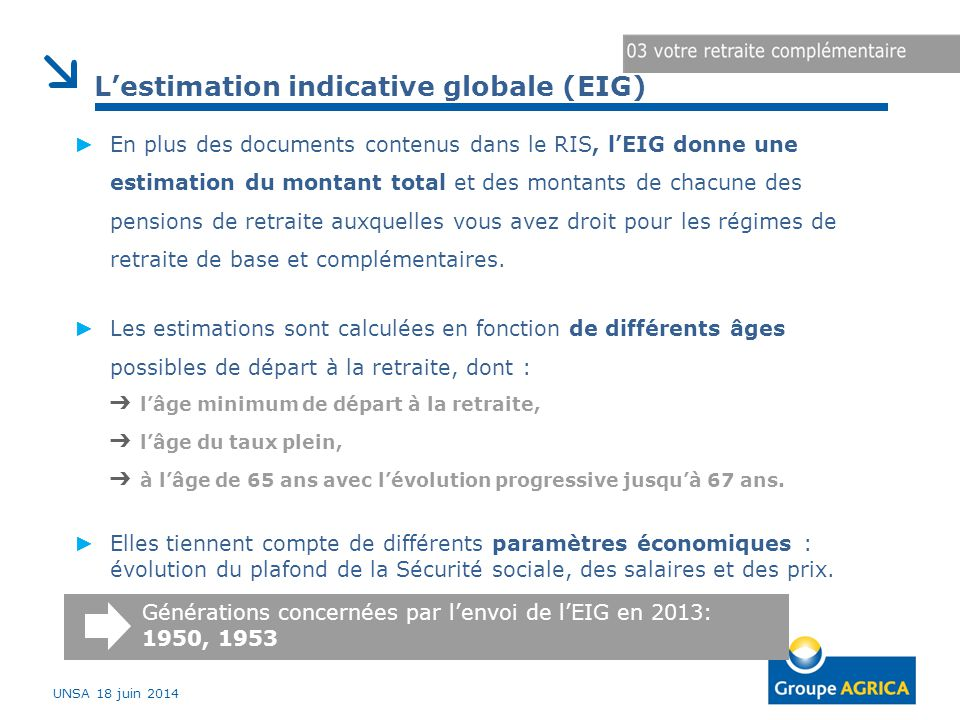 L'estimation indicative globale (EIG)