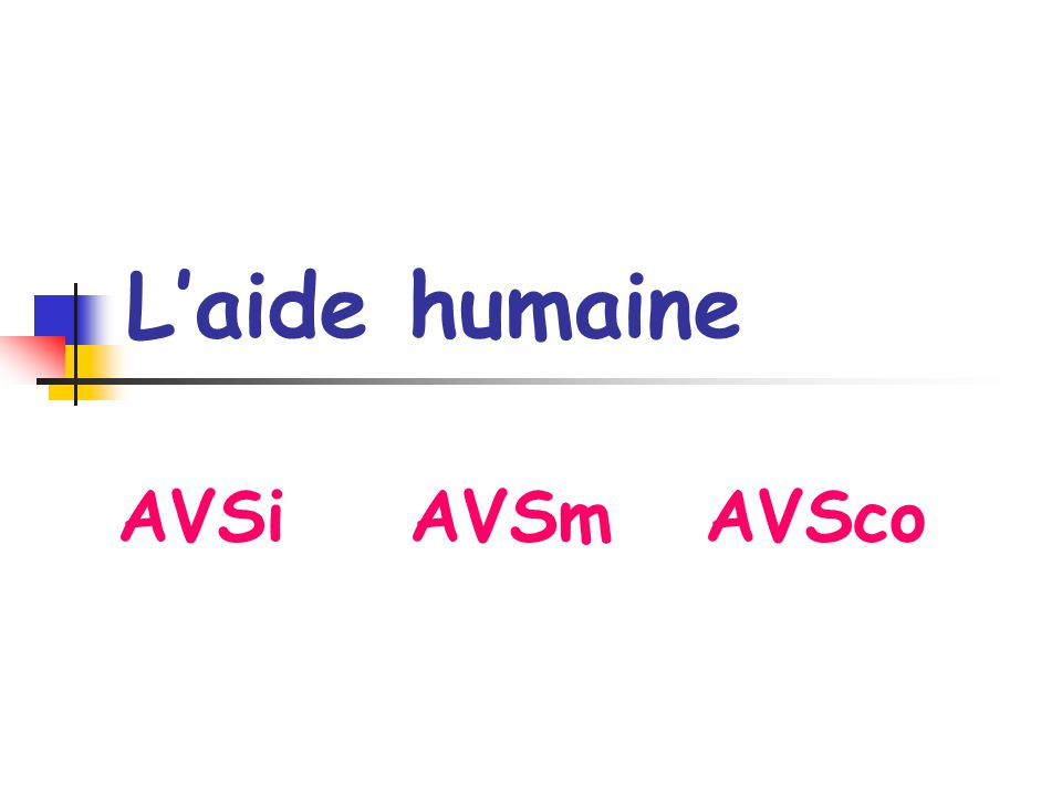 L'aide humaine AVSi AVSm AVSco