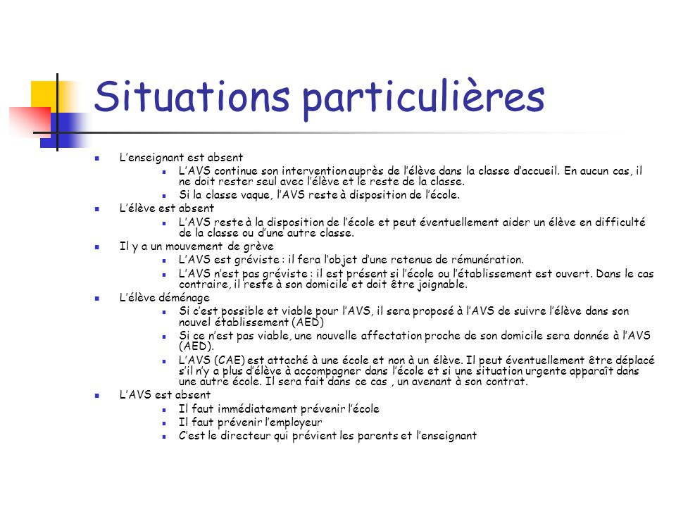 Situations particulières