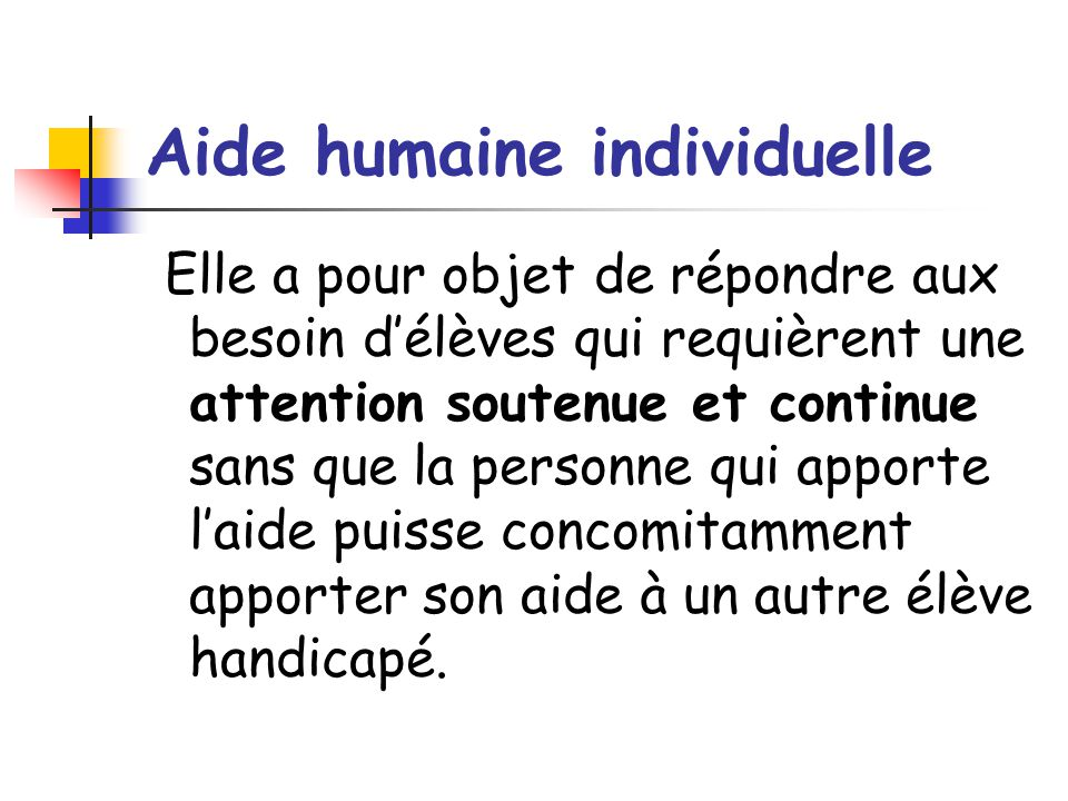 Aide humaine individuelle