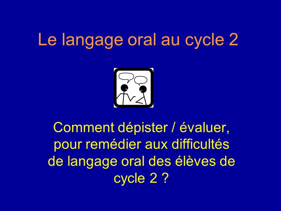 Le langage oral au cycle 2