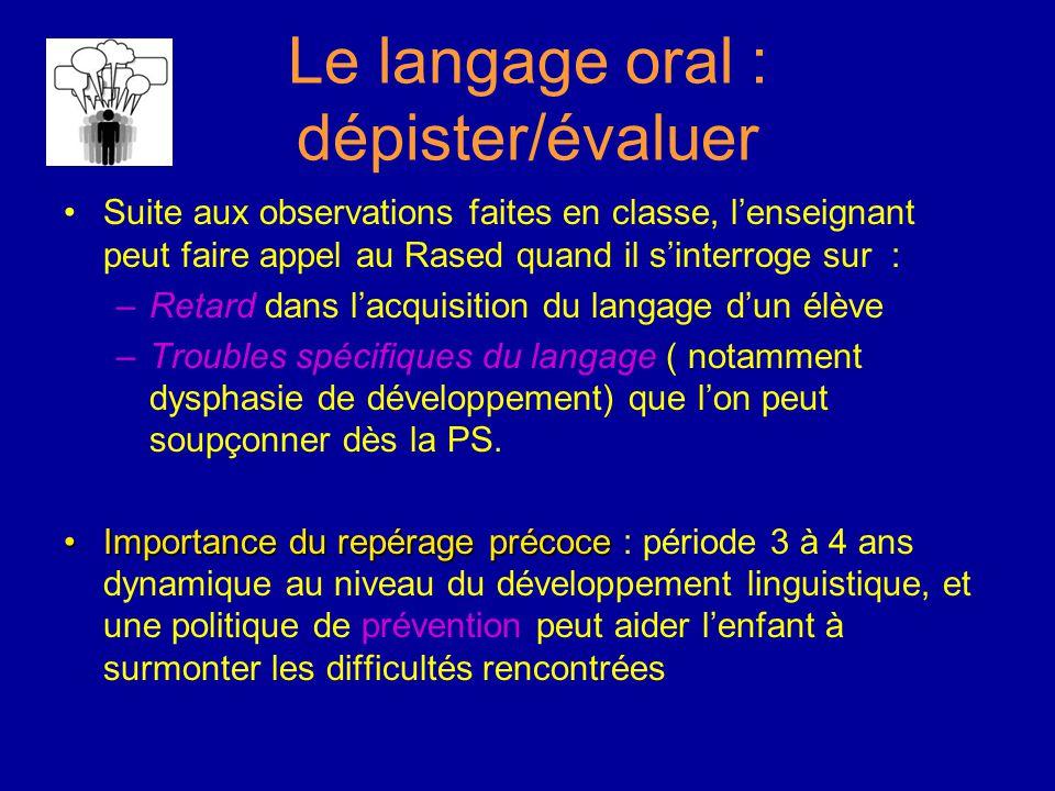 Le langage oral : dépister/évaluer