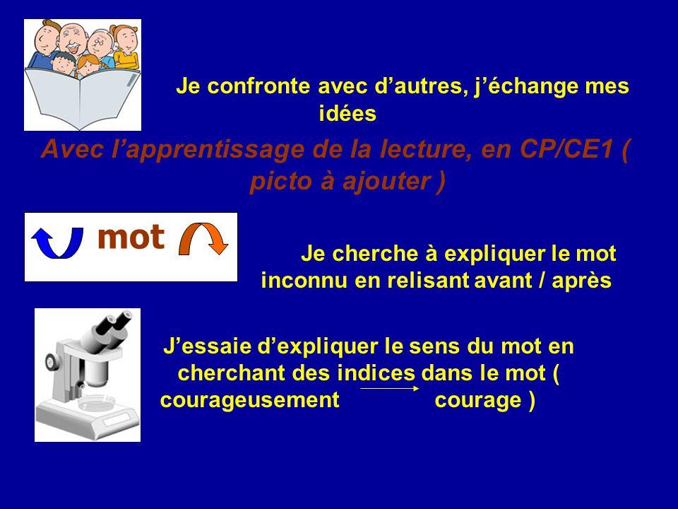 mot Avec l'apprentissage de la lecture, en CP/CE1 ( picto à ajouter )