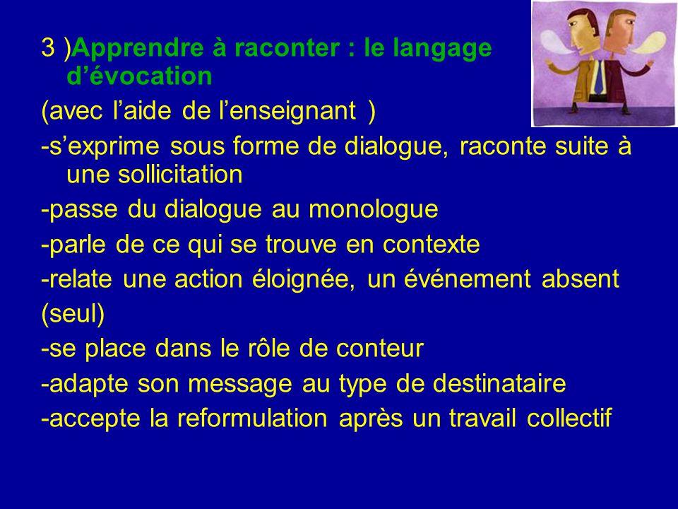 3 )Apprendre à raconter : le langage d'évocation