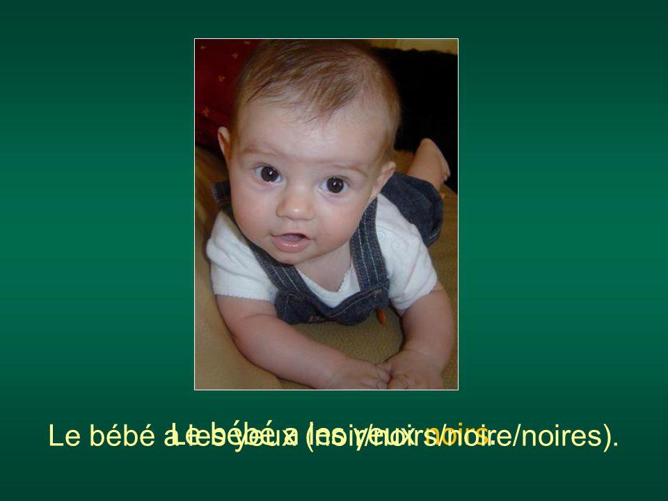 Le bébé a les yeux (noir/noirs/noire/noires).