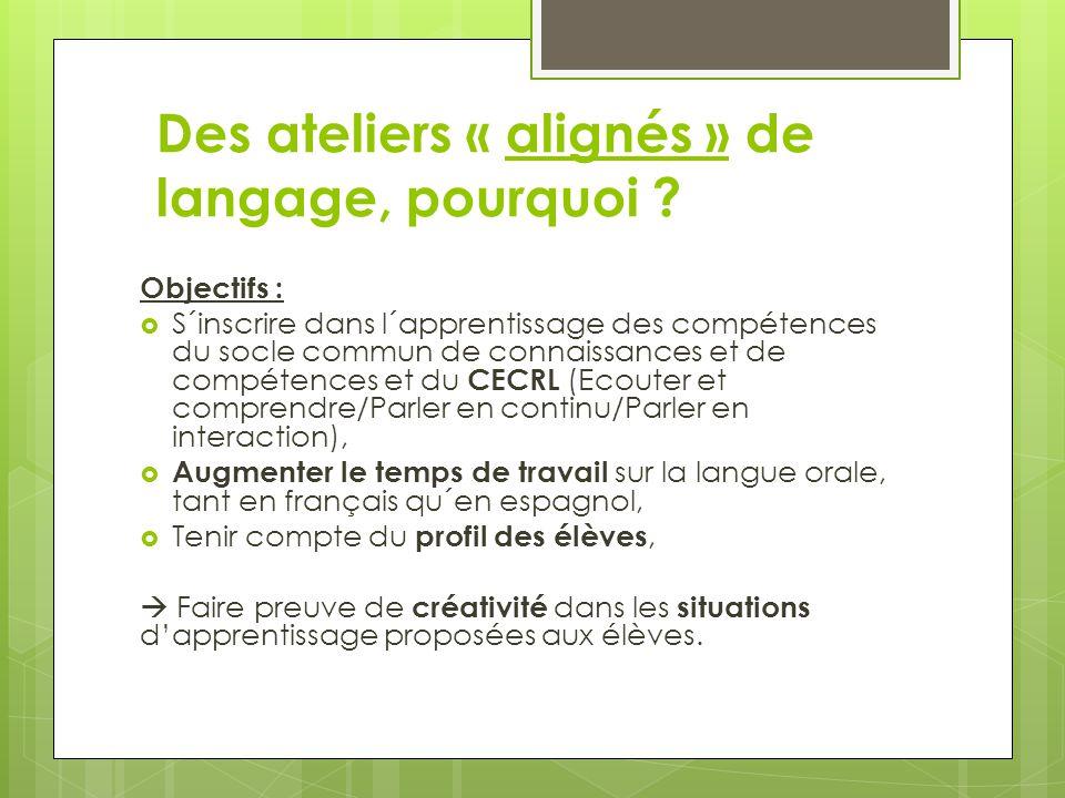 Des ateliers « alignés » de langage, pourquoi