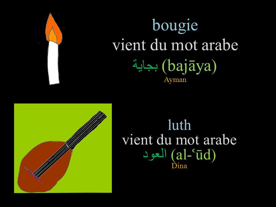bougie vient du mot arabe بجاية(bajāya) Ayman