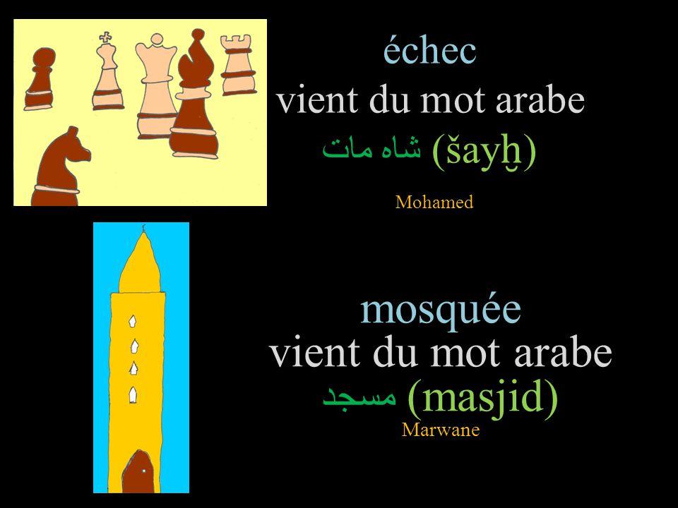 échec vient du mot arabe شاه مات(šayḫ) Mohamed