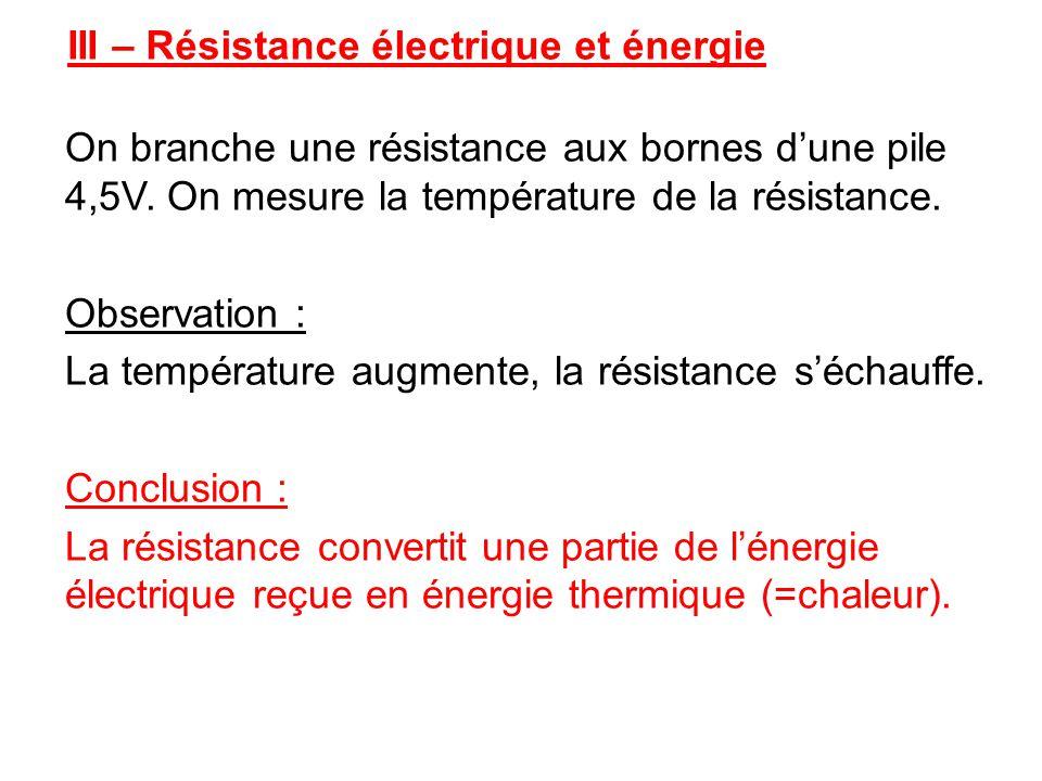III – Résistance électrique et énergie