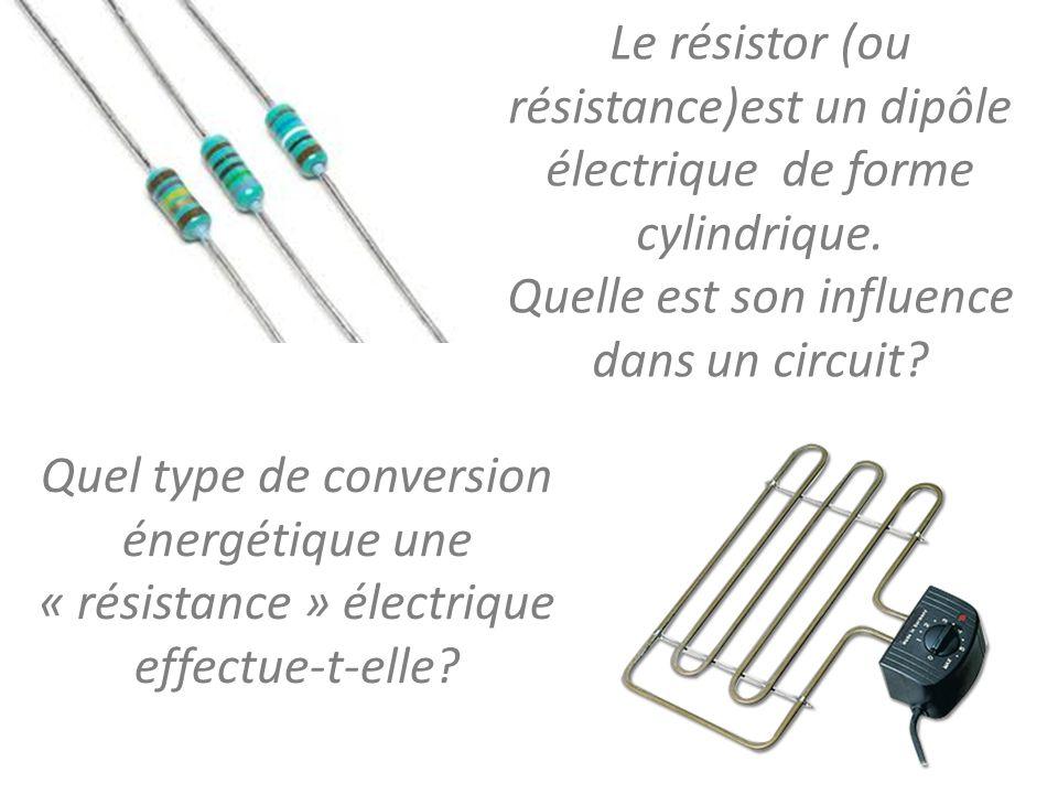 Le résistor (ou résistance)est un dipôle électrique de forme cylindrique. Quelle est son influence dans un circuit