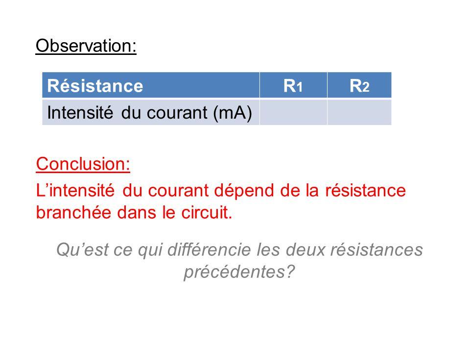 Qu'est ce qui différencie les deux résistances précédentes