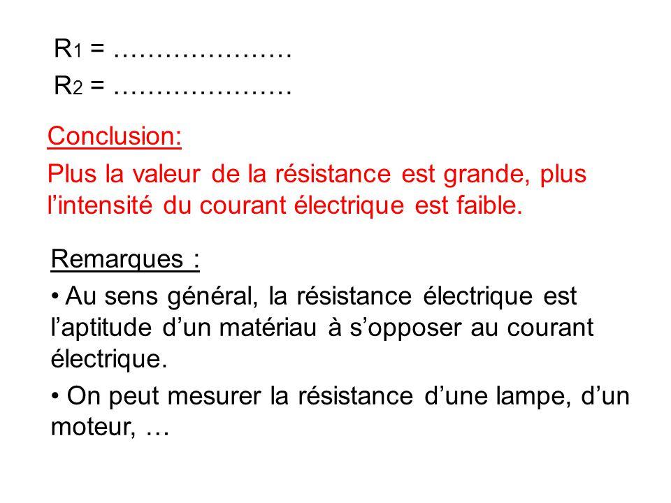 R1 = ………………… R2 = ………………… Conclusion: Plus la valeur de la résistance est grande, plus l'intensité du courant électrique est faible.