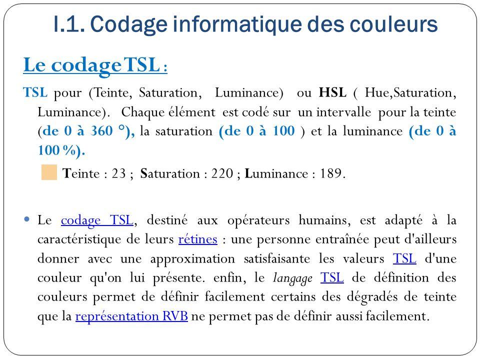 I.1. Codage informatique des couleurs