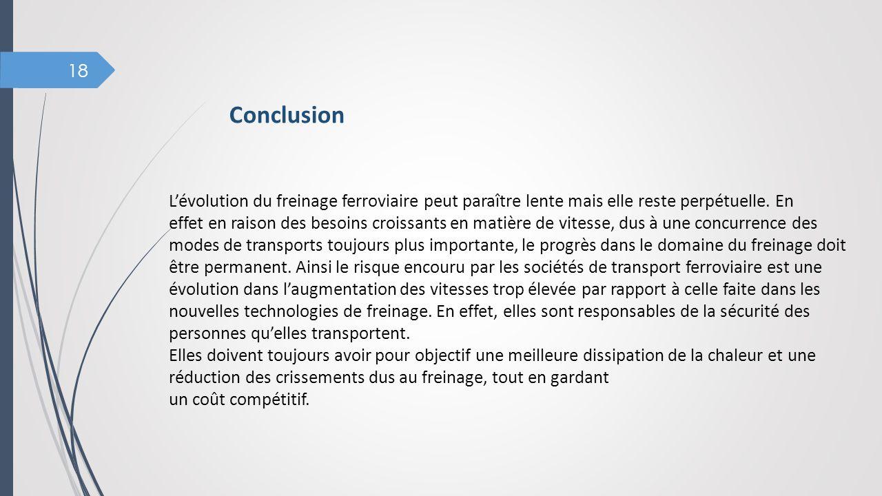 Conclusion L'évolution du freinage ferroviaire peut paraître lente mais elle reste perpétuelle. En.