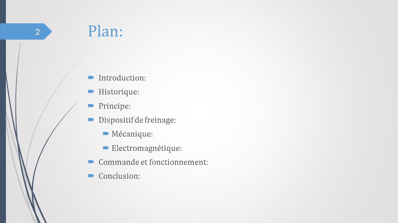 Plan: Introduction: Historique: Principe: Dispositif de freinage: