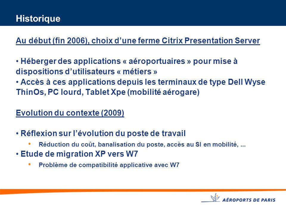 Historique Au début (fin 2006), choix d'une ferme Citrix Presentation Server.