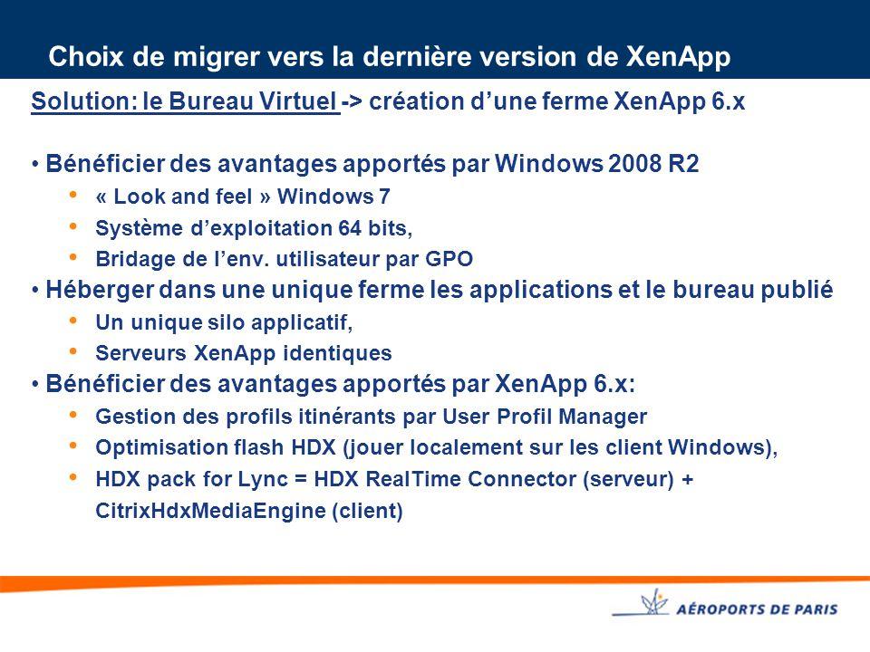 Choix de migrer vers la dernière version de XenApp